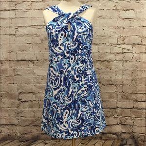 Kensie Blue and White Pattern Sleeveless Dress 8